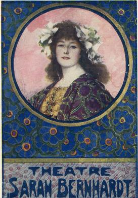 Portrait de Sarah Bernhardt en couverture de programme de la pièce «La Gloire de Maurice Rostand» en 1922.