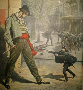 Un Apache, couteau à la main illustrant la Une du «Petit Journal Illustré» du 20 octobre 1907.
