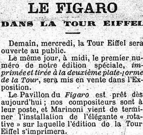 <i>Le Figaro</i> dans son édition du 14 mai 1889 annonce la parution de son édition spéciale de la Tour Eiffel.
