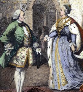 Le philosophe Denis Diderot avec l'impératrice Catherine II de Russie à Saint-Petersbourg en 1773-74 (gravure du 19e siecle)