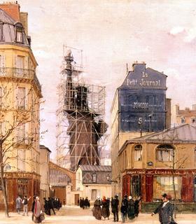 La Statue de la Liberté surgissant des toits de Paris, rue de Chazelles vue par Victor Dargaud (1884).