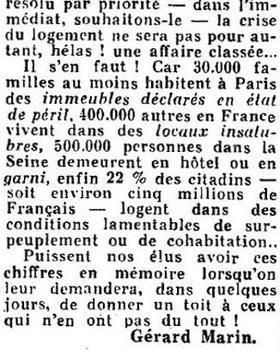 Le Figaro dans son édition du 12 décembre 1953 se félicite du prochain amendement sur le logement d'urgence..