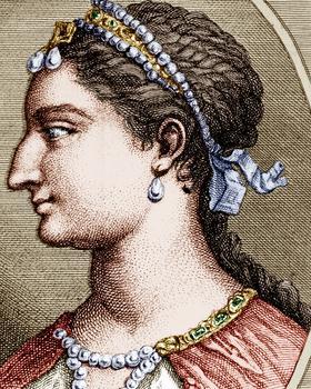 Cléopâtre VII Philopator, dernière reine macédonienne d'Égypte: gravure d'après un médaillon antique.