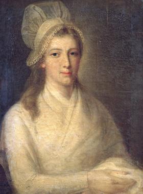 Portrait de charlotte Corday de l'artiste Jean-Jacques Hauer (1751-1829), réalisé quelques heures avant la mort de la condamnée.