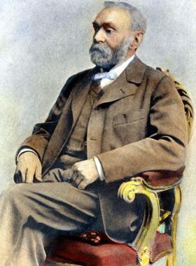 Alfred Nobel, riche industriel suédois dans le domaine des explosifs. Il fait fortune grâce à ses nombreux brevets.
