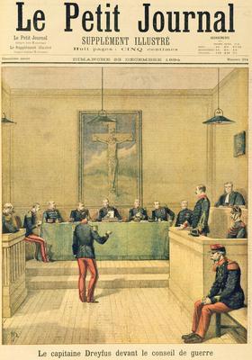 Couverture du «Petit Journal» du 23 décembre 1894: le capitaine Dreyfus devant la cour martiale.