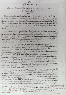 Première version manuscrite du «Contrat Social» de Jean-Jacques Rousseau, 1762.