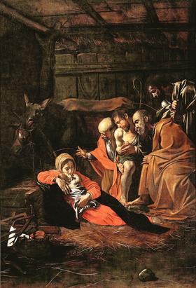 L'Adoration des bergers, du Caravage (1609). La naissance du Christ demeure un des sujets les plus représentés dans l'art religieux occidental.