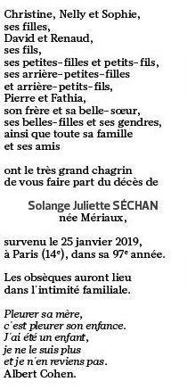 L'avis décès publié dans <i>Le Figaro </i>samedi 2 février 2019.
