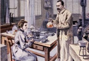 Marie et Pierre Curie dans leur laboratoire de l'École de physique et de chimie industrielles de Paris. Une du «Petit Parisien» du 10 janvier 1904.