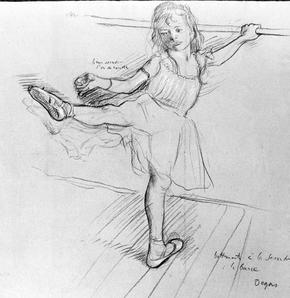 Jeune danseuse à la barre, dessin au fusain et à la craie d'Edgar Degas.
