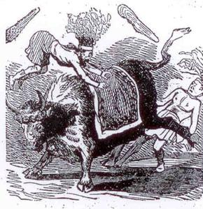 Vignette de Cham: le boeuf gras du Carnaval de Paris se fâche (1850).