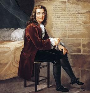 Portrait de Voltaire, ici à la prison de la Bastille composant la Henriade. Gravure de Louis-François Charon.