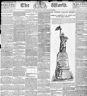 Une de The World du 11 août 1885 annonçant 100.000 dollars de dons réunis pour continuer les travaux de la Statue de la Liberté.