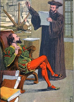 François Rabelais dans l'imprimerie d'Étienne Dolet, illustration par Louis Bombled pour «L'Histoire de France», de Jules Michelet, vers 1900.