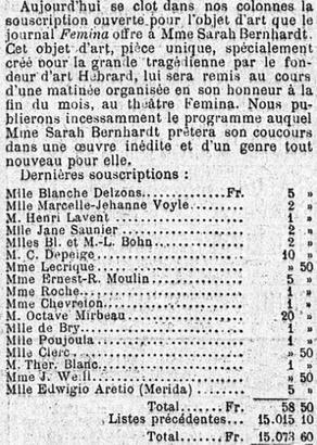 Souscription en faveur de l'actrice Sarah Bernhardt dans <i> Le Figaro</i> du 13 mai 1907.