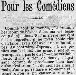 Octave Mirbeau répare «un péché de jeunesse» dans son article paru dans <i>Le Figaro</i> du 20 avril 1903.