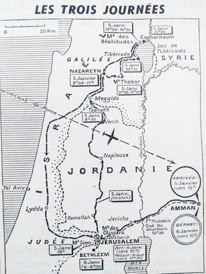 Carte montrant l'itinéraire du pape Paul VI lors de son voyage en Terre Sainte en 1964.