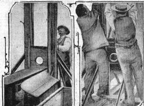 Le bourreau Anatole Deibler prépare sa machine: «Des têtes vont tomber» titre «Le Matin» du 10 janvier 1909.