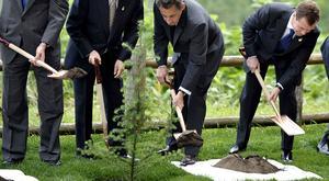 Nicolas Sarkozy et Dmitri Medvedev en 2008.