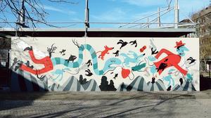 Fresque murale «Échappées belles», Bordeaux 2015, Mister Pee.