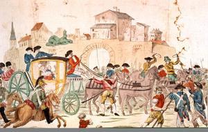 Arrêtée à Varennes la famille royale est ramenée à Paris juin 1791, après sa tentative de fuite.