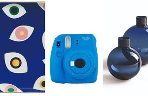 Vélo, sac, appareil photo: bleu en un «Klein» d'œil pour Noël