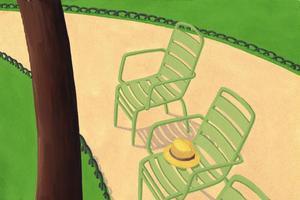 <i>Les Trois Fauteuils,</i>illustration de Michel Boucher à voir à la galerie des Jardins en Art.