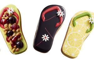 Les tartes en forme de tong signées Arnaud Larher.
