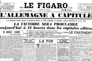 La Une du Figaro du 8 mai 1945.