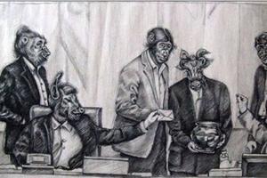 La caricature sur le Parlement des mollahs.