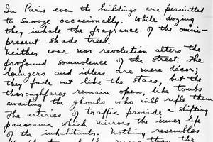 Extrait d'un manuscrit d'un texte d'Henry Miller, 1950.
