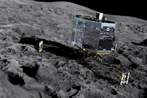 Vue d'artiste du robot Philae sur la comète 67P/Tchourioumov-Guerassimenko. Photo: ESA