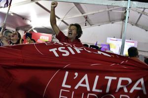 Les partisans de Syriza ont célébré la victoire au siège du parti.