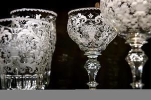 Verres en cristal de la manufacture Moser, près de Karlsbad.