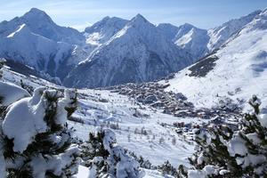 La piste bleue des Deux-Alpes.