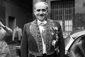 Louis Armand (1905-1971), résistant, ingénieur et haut-fonctionnaire, le jour de sa réception à l'Académie française le 19 mars 1964.