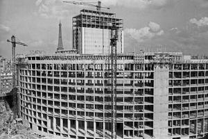 29 septembre 1960: le chantier de la construction de la Maison de la Radio qui regroupera tous les services de Radio France.