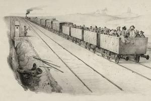 La ligne Paris-Orléans, vers 1870, propose encore des wagons ouverts.