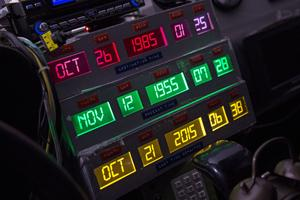 Le panneau de contrôle des voyages dans le temps à l'intérieur de la DeLorean.