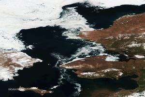 La banquise s'est retiré de la partie ouest de l'Alaska. <i>HANDOUT / NOAA/NASA / AFP</i>