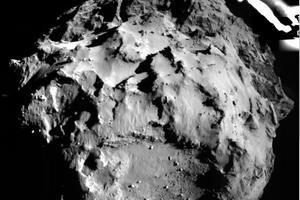ROLIS, une caméra située sous Philae, prend une en photo de son site d'atterrissage pendant la descente.