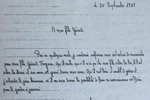 Lettre de reconnaissance écrite par Jacques Fesch à son fils Gérard, le 30 septembre 1957, la veille de son exécution.