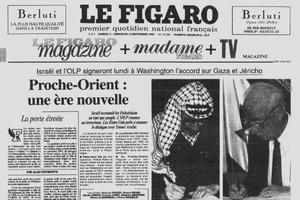 Une du Figaro du 11-12 septembre 1993: la signature de Yasser Arafat et Yitzhak Rabin de la reconnaissance mutuelle d'Israël et de l' OLP -prélude à la signature historique sur l'autonomie de la Palestine, du 13 septembre.