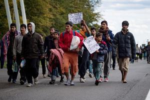 Des migrants en partance pour la Hongrie.