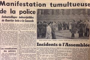 Manifestation tumultueuse de la police titre le Figaro le 14 mars 1958.