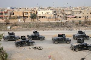 Les forces irakiennes près de Bartella, à l'est de Mossoul.