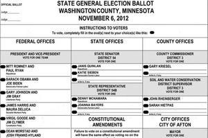 Un bulletin de vote lors de l'élection présidentielle de 2012.