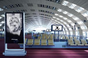 80 photos deDominique Issermann ont investi lesécrans publicitaires à Roissy.
