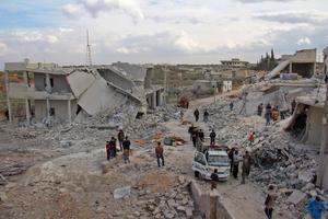 Des immeubles détruits dans le village de Kfar Jales ce mercredi.